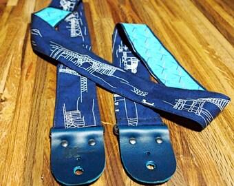 Guitar Strap - Bridges of Portland with PDX Carpet Back, Leather Ends - Bass Strap, Instrument Strap, Guitar Strap, Portlandia, Pacific NW
