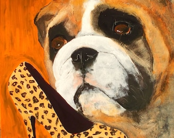 "English Bulldog Art Painting, ""Shoe Fetish"", Dog Art, Signed Original,8x10,Framed"
