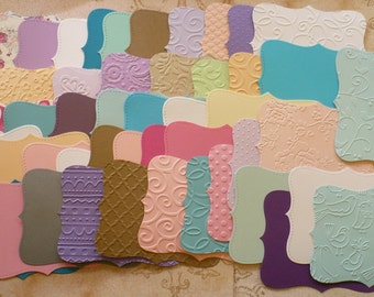 SALE Random Colors Textures Prints Embossed Premade Lot 45 pcs Top Note Shapes from Stampin Up Die - Die Cut pcs made from Cardstock