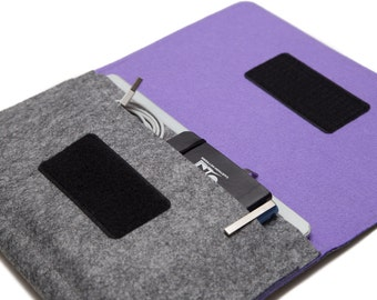 MacBook Pro 15 inch Organizer / MacBook Pro Cover / 15 inch laptop case - Gray & Violet - Weird.Old.Snail