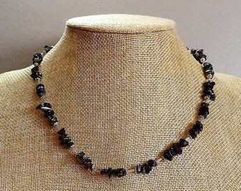 Black AB Glass Chip Necklace with Silver Tone Spacers