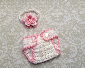 Crochet baby headband and diaper cover set size 0 to 3 mos - an adorable baby shower gift, available now