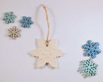 Snowflake Ornament, White Christmas Phrase Decoration, Clay Christmas Tree Ornament, You Are Magical