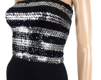 Genuine 70s Glam Silver And Black Sequin Boob Tube In Size XXS
