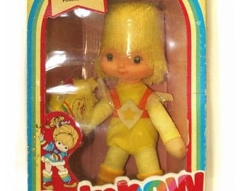 "Rainbow Brite Vintage Canary Yellow & Spark Sprite 10"" doll"