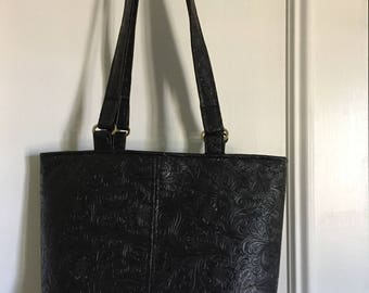 Miss Maggie Tote Shoulder Bag Tote Black Faux Tooled Leather Batik Interior