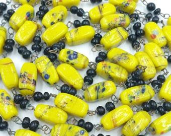 Yellow Venetian Art Glass Necklace LONG Flapper Length Beads Murano Glass Necklace