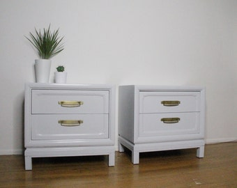 Vintage Pale Gray Nightstands