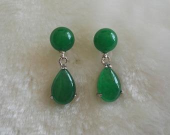 free shipping- jade earrings, green jade earrings, 10 mm jade earrings