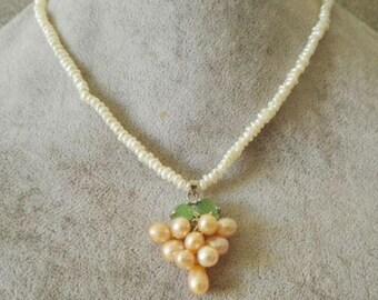 Pearl Necklace-  baroque pearl necklace, pearl necklace pendant, 2-3 mm white pearl necklace, pink freshwater pearl pendant