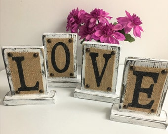 Custom WEDDING, home decor, LOVE, wedding table letter or number, mantle decoration, burlap rustic
