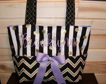 Diaper bag, handbag, purse, book bag..Black N Gold Chevron N Pur[;e w/Name and bow..Match your carseat canopy(see fashionfairytales).