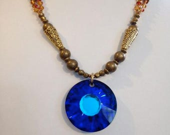 Cobalt Blue Swarovski Crystal Pendant On Brass And Seed Bead Necklace With Vibrant Crystal Beads