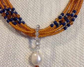 Multistrand Seed Bead Necklace With Dainty Swarovski Pearls, Glass Bead Pendant And Baroque Pearl