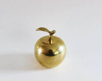 Vintage brass apple paperweight bell