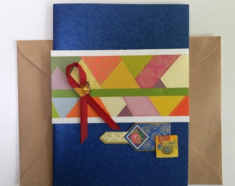 Patchwork Pattern Card with a ribbon and a butterfly charm - Korean Traditional Design