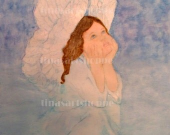 "Angel painting ""Angel Visions""/ Angel prayers/ Angel praying/ Angel Wings/ Angel Watercolor Art/Guardian Angel Art"