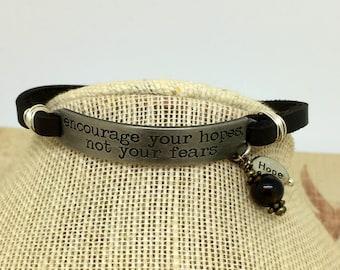 Leather Bracelet  Inspirational Quote Bracelet  Layering Bracelet   Boho Bracelet item 2225