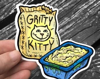 Gritty Kitty Litter Box Sticker - Ren & Stimpy Waterproof Decal - FREE US Shipping