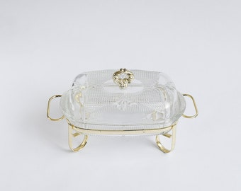Vintage Butter Dish Glass with Metal Traditional English - Unique and beautiful