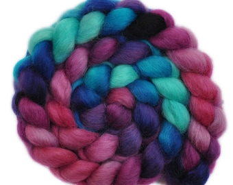 Hand painted wool roving - Wensleydale wool combed top spinning fiber - 4.1 ounces - In A Rush