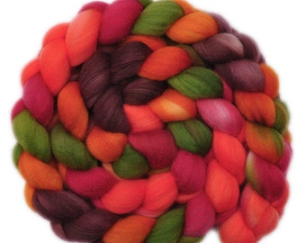 Hand painted wool roving - Superwash Merino Wool / Nylon  85/15% spinning fiber - 4.0 ounces - Fresh Salsa 2
