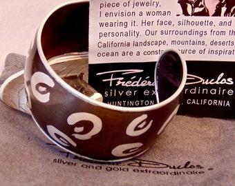 Sterling Silver Charcoal Grey Cuff Bracelet, Estate, Designer, Frederic Duclos