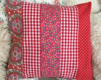 Patchwork cushion coverin Red and white  fabric  cushion , decorative cushion in  cotton fabrics