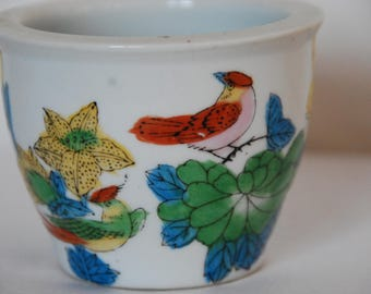 Small Vintage Birds and Flowers Planter