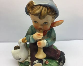 Erich Stauffer Barnyard Frolics Boy playing the horn with the ducks looking on 55/1554 Rare