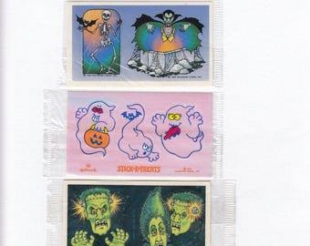 SALE Hallmark Lot of Three Vintage Halloween Stick-R-Treats - 80's Dracula Frankenstein Ghost Vampire Monster Trick or Treat NIP