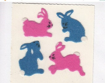 SALE Vintage Sandylion Fuzzy Pink and Blue Bunny Rabbit Stickers - 80's Scrapbook Collage