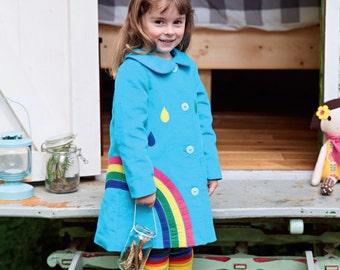 Rainbow coat jacket for toddlers,children in rich blue moleskin