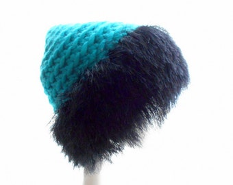 Super Bulky Beanie with Black Faux Fur Brim, Wool Crochet Hat, Beanie Hat in Turquoise, Women's Hat, Small to Medium Size