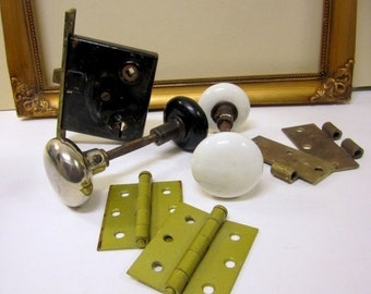 SALE Vintage door knobs, mortise latch and hinges