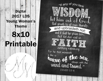 8x10 2017 Mutual Theme. If any of you lack wisdom. Chalk. Digital. Young Woman Printable