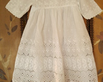 20s broderie anglaise white cotton baby girl dress