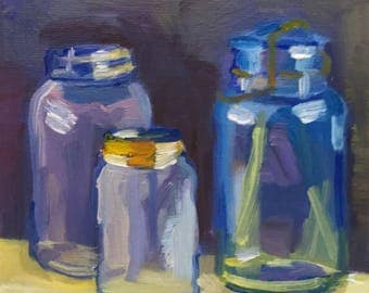 Canning Jars and Light  Small Still Life Oil Painting on Canvas