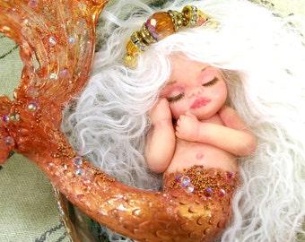 OOAK art doll fantasy mermaid baby polymer clay sculpture fairy  IADR  november citrine birthstone scorpio gift free shipping