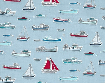 Boats and Ships on Silver from Andover Fabric's Marina Collection Designed by The Henley Studio