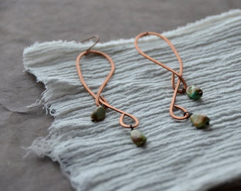 Winding Roads- Turqoise drop hammered copper Earrings, 1 Pair select size