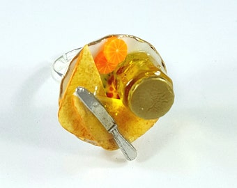 Toast and Honey Ring. Polymer Clay.