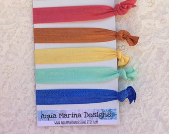 Elastic Hair Ties - Rainbow Collection