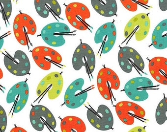 ON SALE Michael Miller fabric for quilt or craft Paint Palettes in Retro Half Yard