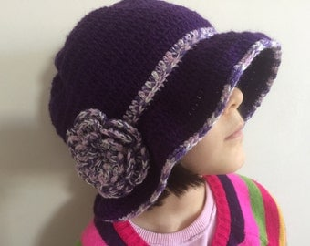 Purple Brim Cloche Hat, Cloche Hat With Flower, Usa Seller