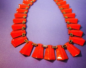MATISSE Copper NECKLACE Cleopatra TRiANGULAR ORaNGE enamel, Egyptian Revival, Renoir Vintage Jewelry