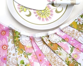 Vintage Retro Pink, Peach and Yellow Floral & Lace Flag Bunting. Home Decoration Banner. Kitchen High Tea Party decor