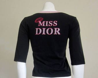 Christian Dior / Designer T Shirt / 80s Top / Miss Dior / Made in France / Haute Hippie / Kate Moss / Festival Clothing