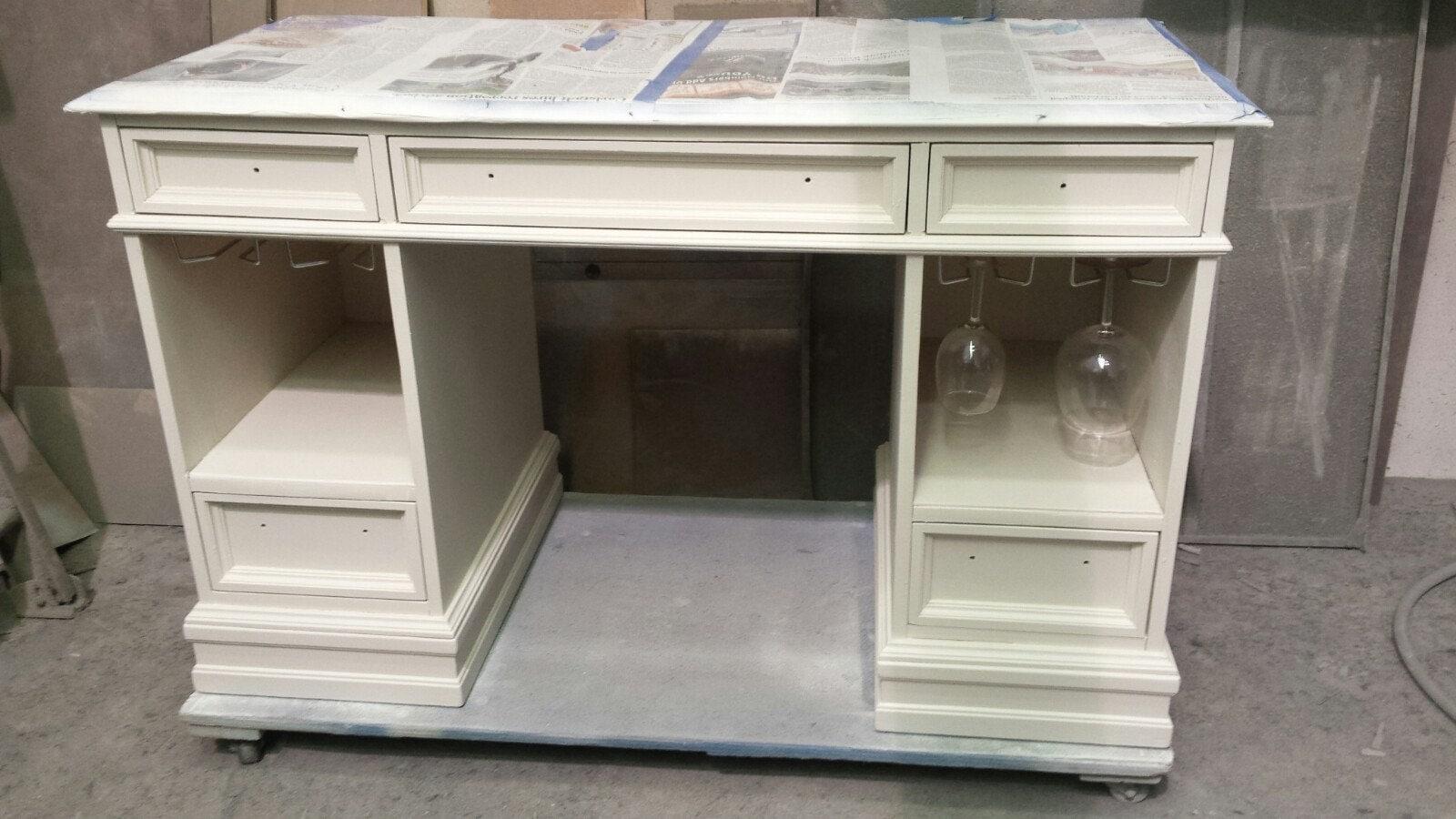 desk, bar, wine bar, liquor cabinet, repurpose, redesign