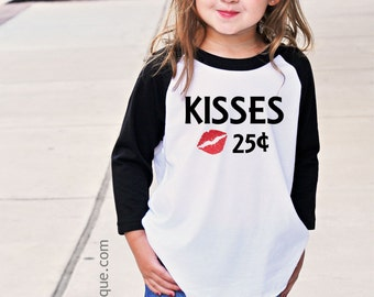 Valentine's Day Shirt for Girls or Boys Kisses 25 cents